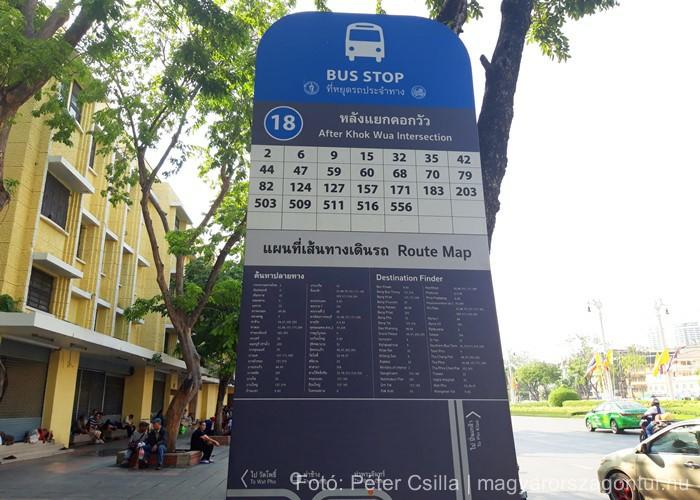 Thaiföld Bangkok buszmegálló
