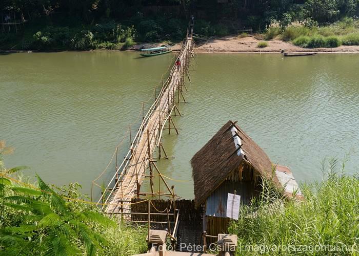 Laosz Luang Prabang bambuszhíd