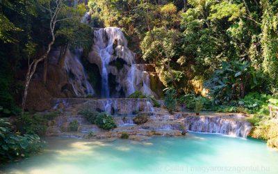 Mesébe illő türkizkék vízesés Laoszban