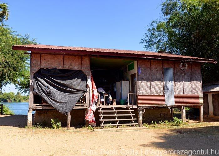 Don Det iskola Laosz bambusz